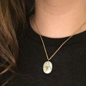 dainty flower stone necklace